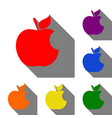 bite apple sign set of red orange yellow green vector image