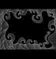 black and white decorative frame in ethnic style vector image