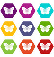 black butterfly icon set color hexahedron vector image