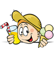 boy with ice cream and juice peeking from behind vector image vector image