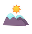 cartoon mountains with snowy top and big sun above vector image