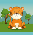 cute adorable tiger animal cartoon vector image vector image