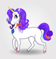 cute cartoon magical unicorn with purple hair and vector image