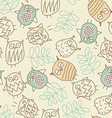 Cute owls in a seamless pattern vector image vector image
