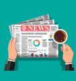 daily newspaper in hands vector image