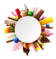 different sweet food round frame vector image vector image