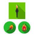 fire and flame symbol set vector image