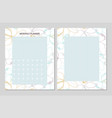 floral monthly planner vector image
