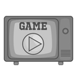 Game on retro TV icon black monochrome style vector image