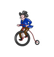 Gentleman Riding Penny-farthing Cartoon vector image