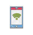 grated smartphone technology with wifi connection vector image vector image