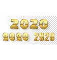 happy new year number set gold 3d number 2020 vector image vector image