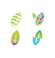 leaf logo design template set vector image