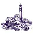 lighthouse and sea landscape storm hand drawn vector image