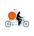 Lover basketball guy and ball on tandem lovers of