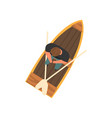 man sitting in wooden boat top view vector image vector image