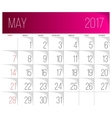 May 2017 calendar template vector image vector image