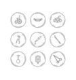 medical mask scalpel and dental pliers icons vector image