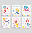 mermaid invite cards birthday poster kids party vector image vector image