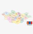 mongolia administrative and political map with fla vector image vector image