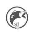 monochrome silhouette circular emblem with fish vector image vector image