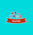 paper sticker on stylish background math lesson vector image vector image
