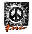 Peace hand drawn linotype made symbol vector image