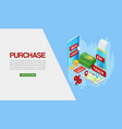 purchase purchases over internet flat isometric vector image