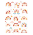 rainbow in cartoon boho scandinavian vector image