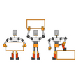 Robots with placard vector | Price: 1 Credit (USD $1)