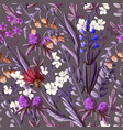 seamless pattern with wild flowers vector image vector image
