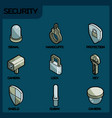 security color outline isometric icons vector image vector image