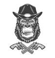 serious gorilla head in sheriff hat vector image vector image