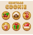 Set Cartoon Christmas cookies biskvit food icons vector image