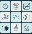 set of 9 ecology icons includes house home sun vector image vector image