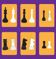 set of icons with chessmen vector image