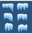 Set of Isolated snow cap Snowy elements on winter vector image vector image
