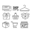 shop icons credit card shopping basket gift box vector image