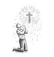 sketch human praying with hands folded in vector image vector image