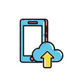 smartphone technology with cloud data icon vector image vector image