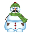 Snowman with mustache wearing green head cover and vector image vector image