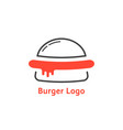 thin line burger logo with red sauce vector image vector image