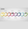 timeline infographics design template with 8 vector image