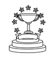 trophy cup with stars black and white black and vector image vector image