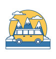 vintage van vehicle between mountains landscape vector image