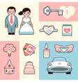Wedding flat set vector image vector image