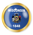 wisconsin flag button vector image