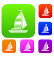 yacht with sails set collection vector image