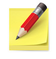 yellow sticker and pencil on white background vector image vector image