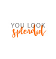 You look splendid calligraphic inscription vector image vector image